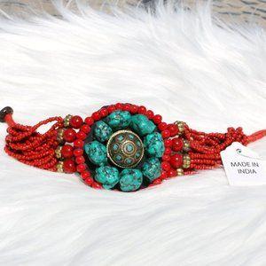 Boho Turquoise Brass & Bead Ethnic Tribal Bracelet